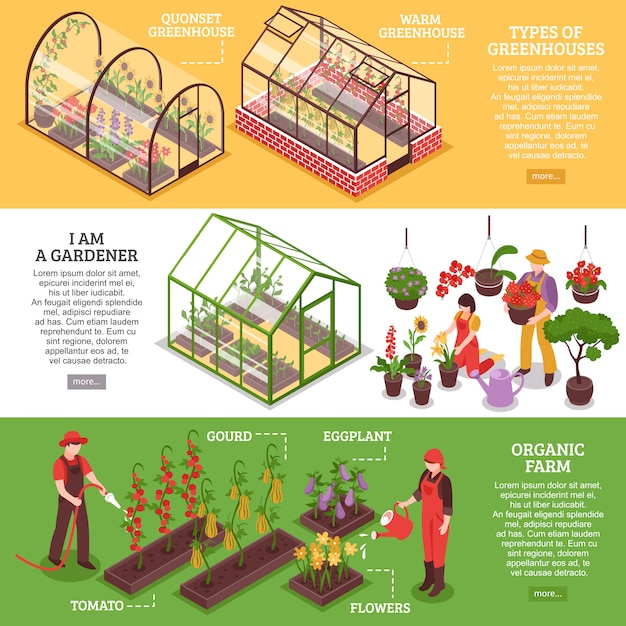Greenhouse banner set Free Vector