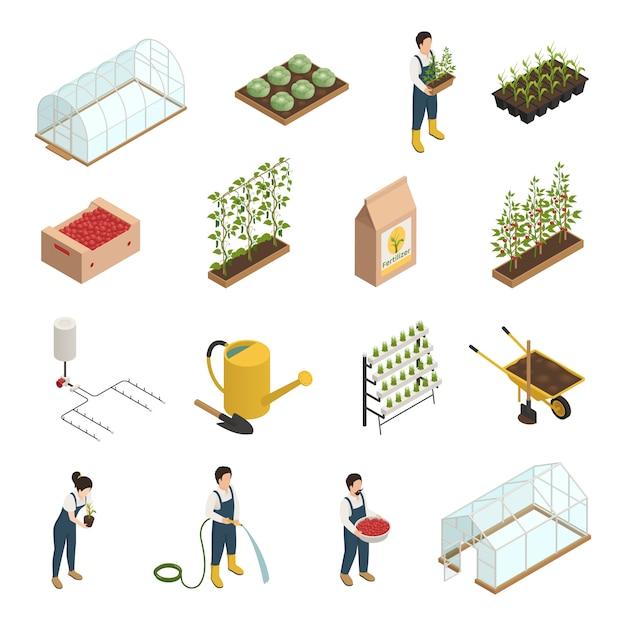 Greenhouse elements isometric elements set Free Vector