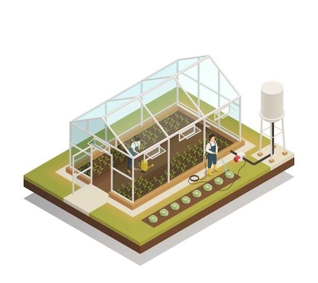 Greenhouse facility irrigation isometric composition Free Vector