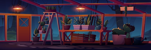 Greenhouse interior at night with potted plants Free Vector