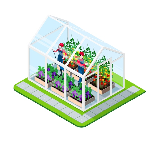 Greenhouse isometric concept Free Vector