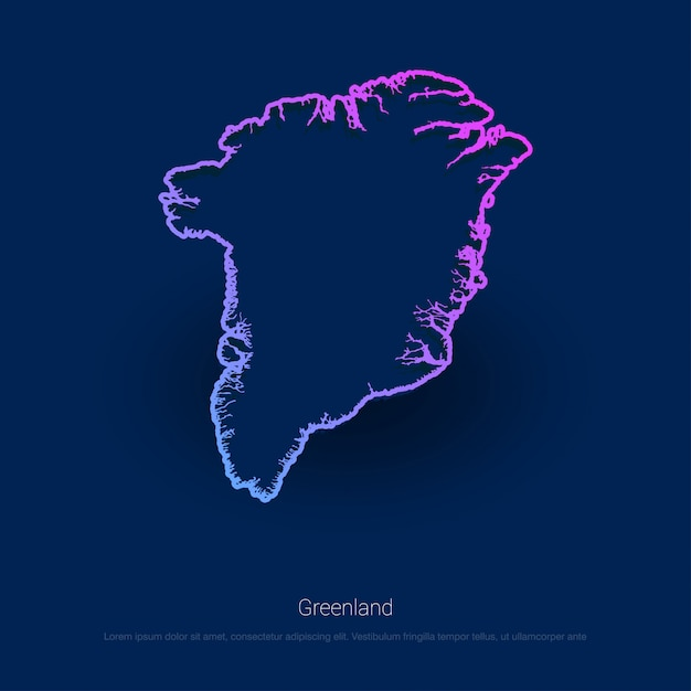 Greenland Country Map Blue Presentaion\ Background
