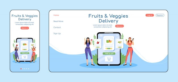 Greens delivery service adaptive landing page  color  template. greengrocery mobile and pc homepage layout. veggies order one page website ui. courier service webpage cross platform Premium Vector