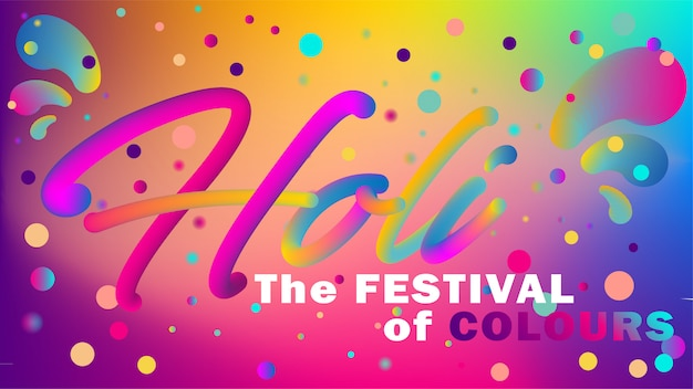 Greeting banner in disco style for holi festival Premium Vector