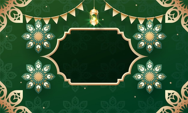 Greeting card or banner design with blank vintage frame given fo Premium Vector