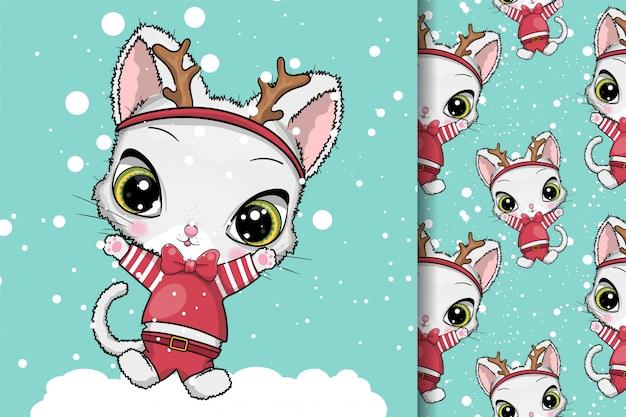 グリーティングカードクリスマス猫 Premiumベクター