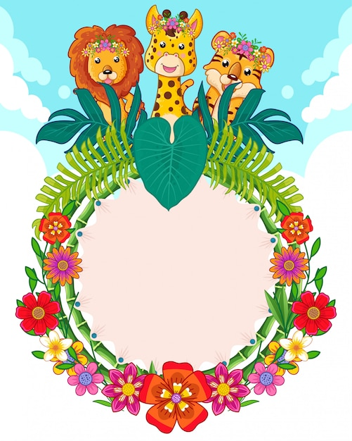 Greeting card of cute animals and flowers Premium Vector