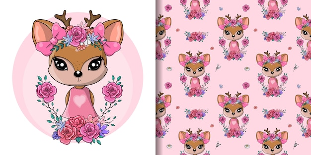 Greeting card cute baby deer with flowers and hearts, seamless pattern Premium Vector