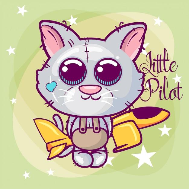 Greeting card cute cartoon cat with a plane Premium Vector
