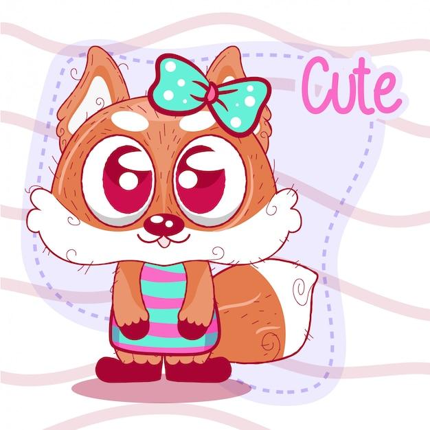 Greeting card cute cartoon fox Premium Vector