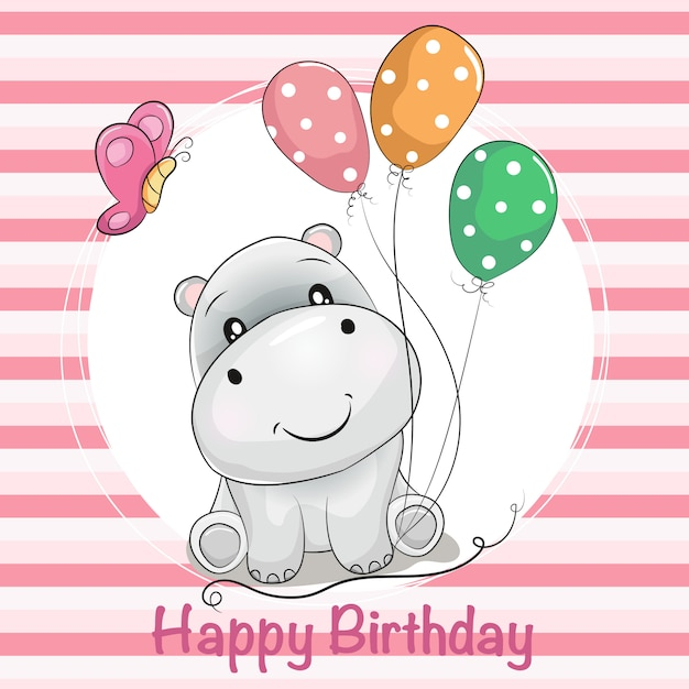 Greeting card cute cartoon hippo with ballons and butterfly Premium Vector