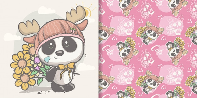 Greeting card cute cartoon panda with seamless pattern Premium Vector