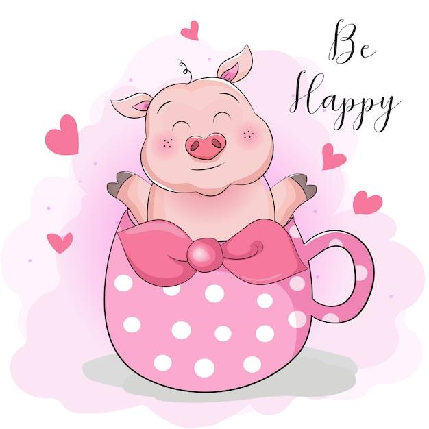 Greeting card cute cartoon pig with cup tea surprise Premium Vector