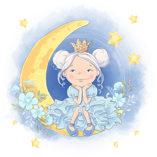 Greeting card cute cartoon princess on the moon with a shiny crown and moon flowers Premium Vector