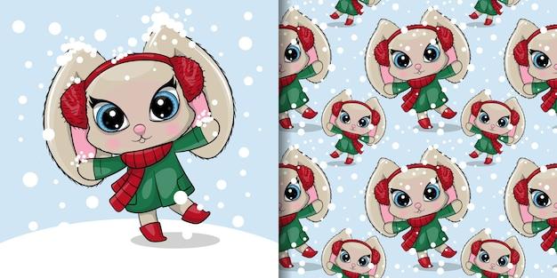 Greeting card cute cartoon rabbit with a snow, seamless pattern Premium Vector