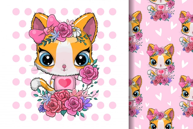Greeting card cute kitten with flowers Premium Vector