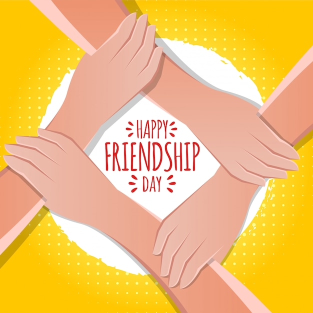 Greeting card design for happy friendship day Premium Vector