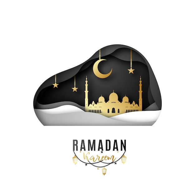 Greeting card design on the occasion of muslim's holy month ramadan. Premium Vector