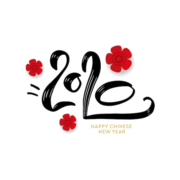 Greeting card design template with japanese calligraphy for 2020 - happy new year Premium Vector