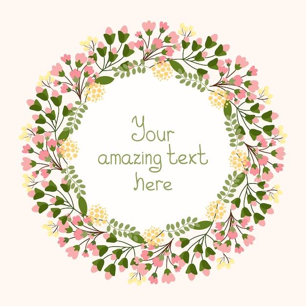 招待状の結婚式や誕生日のベクトルイラストのコピースペースで中央のカルトゥーシュを囲む可憐な新鮮なピンクの花と花の円形の花輪とグリーティングカードのデザイン 無料ベクター