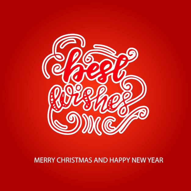 Greeting card design with lettering best wishes. vector illustration. Premium Vector