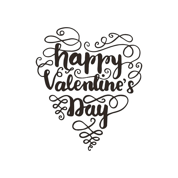Greeting Card Design With Lettering Happy Valentine S Day Vector