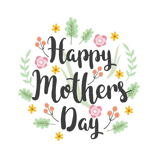 Greeting card design with lettering mother's day Premium Vector