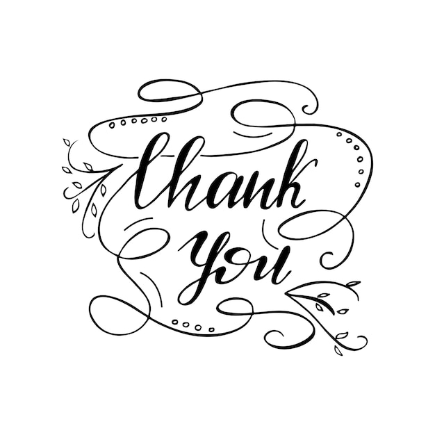 Greeting card design with lettering Thank you. Vector illustration. Premium Vector