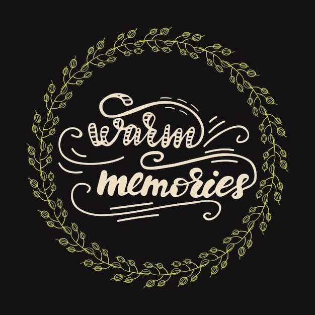 따뜻한 추억 글자와 인사말 카드 디자인입니다. 벡터 일러스트입니다. 프리미엄 벡터