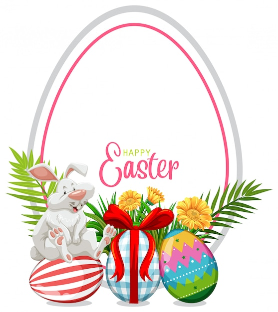 Greeting card for easter with easter bunny and painted eggs Free Vector