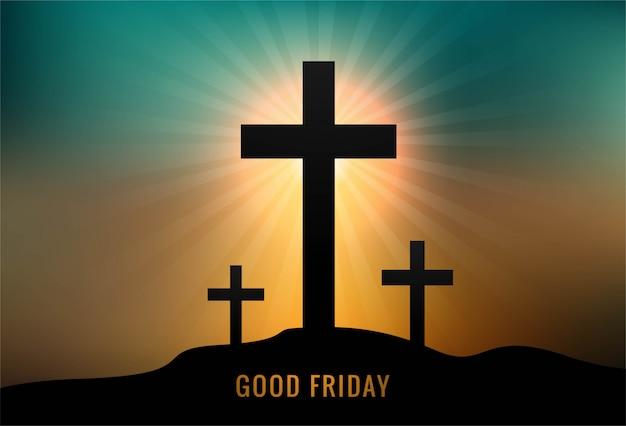 3つの十字架夕日を背景に聖金曜日のグリーティングカード 無料ベクター