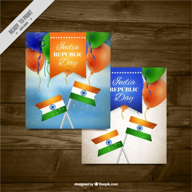 Greeting card for indian republic day with balloons and flags
