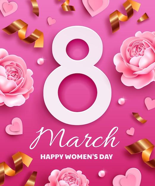 Открытка к международному женскому дню (8 марта). номер 8 с цветами, змеевиком, жемчугом и бумажными сердечками. Premium векторы