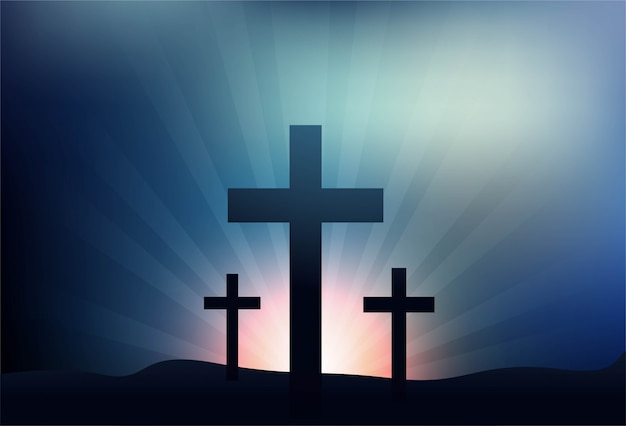 Greeting card for good friday with three crosses background Free Vector