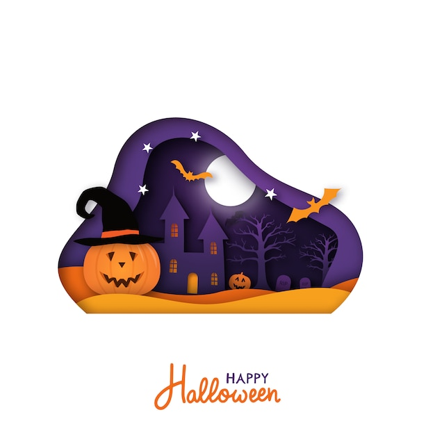 Greeting card for halloween holiday in paper cut style. Premium Vector