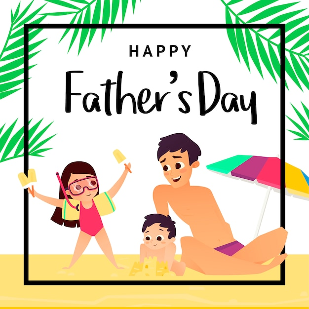 Greeting card happy fathers day. father with two children on beach Premium Vector