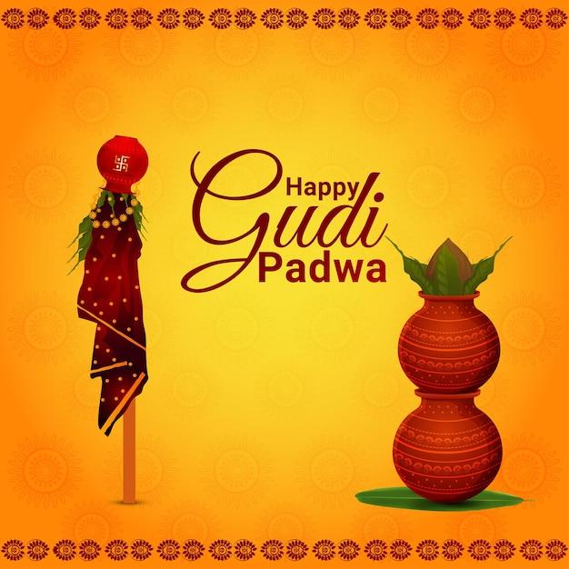 Greeting card of happy gudi padwa celebration Premium Vector