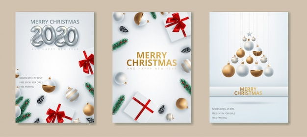 Premium Vector Greeting Card Of Happy New Year 2020 And Merry Christmas