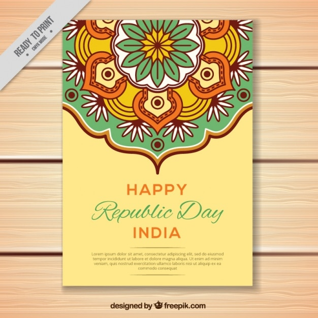 Greeting Card For Indian Republic Day In Flat Design Vector