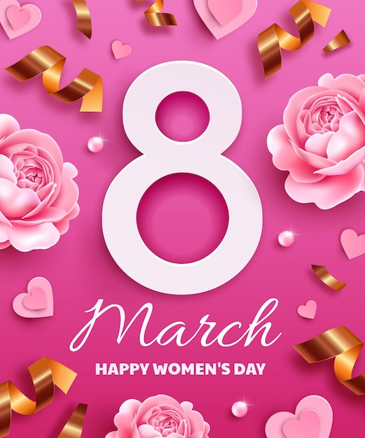Greeting card for international women's day (march 8). number 8 with flowers, serpentine, pearls and paper hearts. Premium Vector