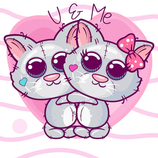 Greeting card kittens boy and girl on a heart background Premium Vector