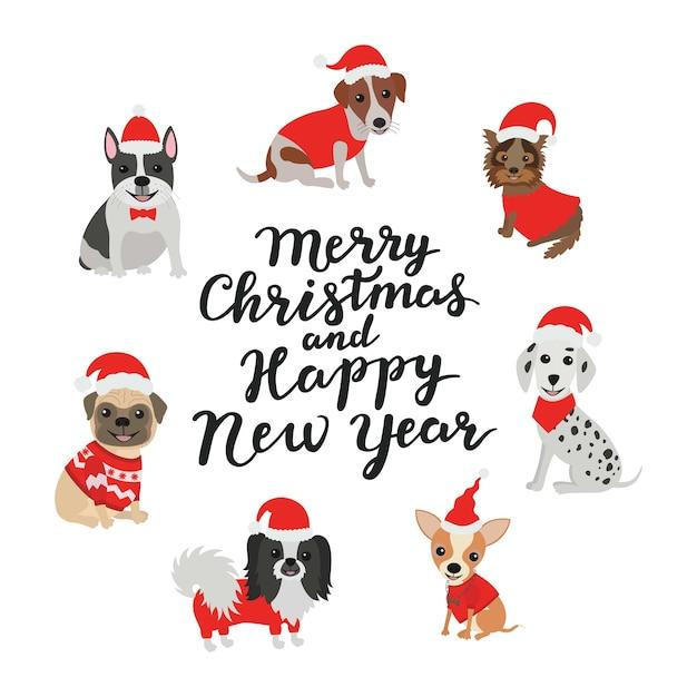 Открытка. веселого рождества и счастливого нового года. собаки в костюмах деда мороза Premium векторы