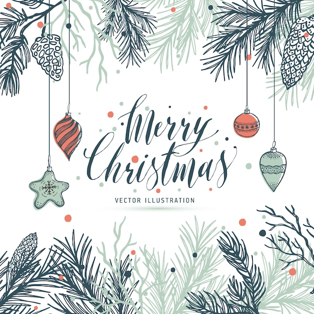 Greeting card mery christmas with pine and strobile Vector | Premium ...