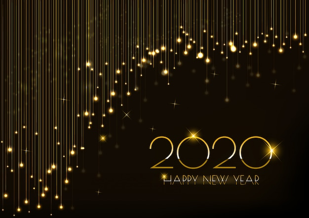 Greeting card for new year 2020 design with glowing lights curtain Premium Vector
