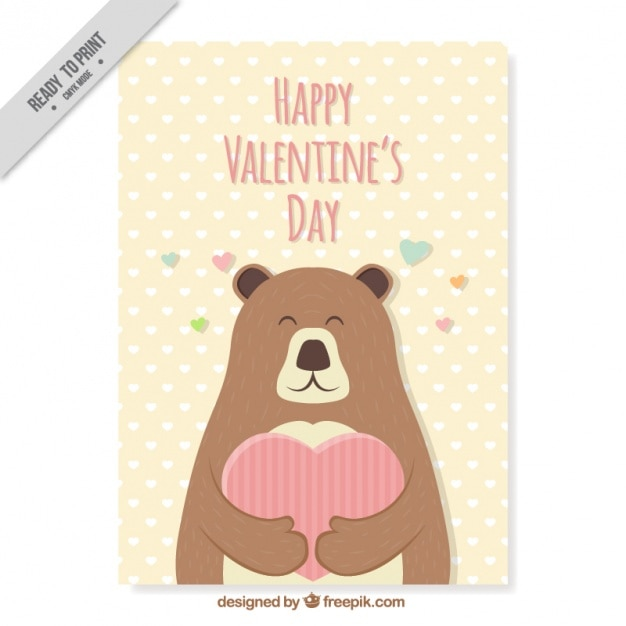 Greeting card of cute bear for valentines day Vector – Bear Valentines Card