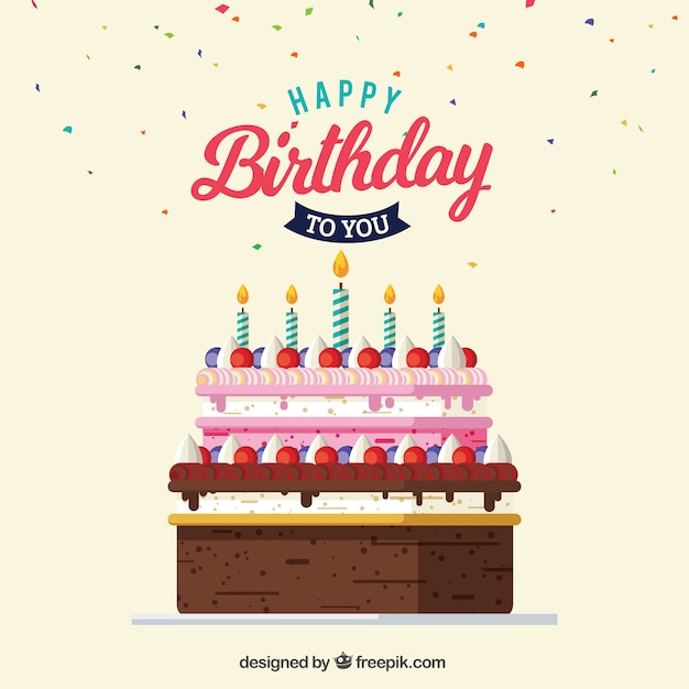 Greeting card of delicious birthday cake Free Vector