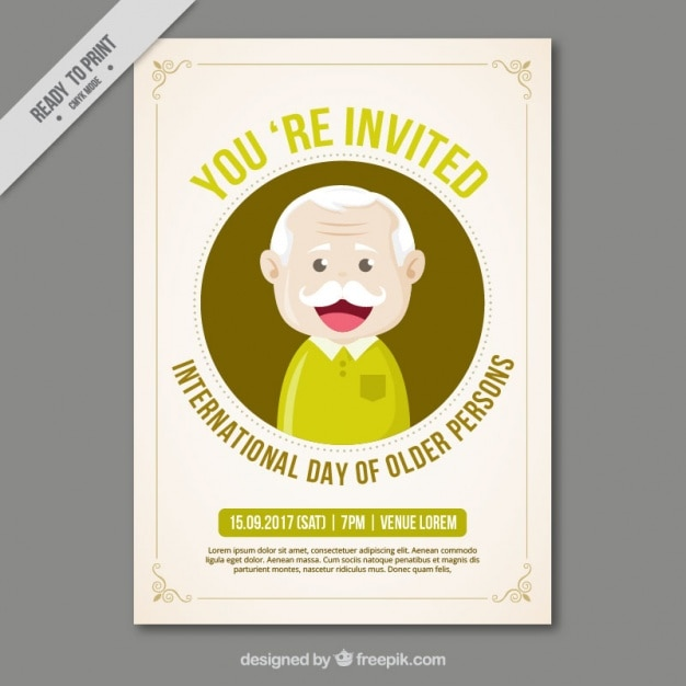 Greeting card of older person day