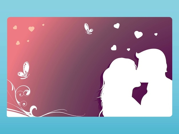 greeting card template with a kissing couple free vector