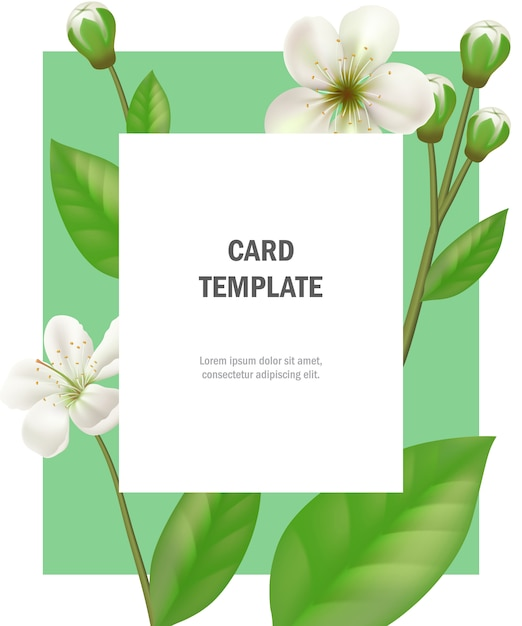 Greeting card template with apple flowers on green frame for Free greeting card templates for mac