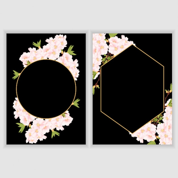 Greeting card template with cherry blossom flower border ...